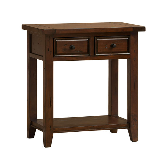 Tuscan Retreat 2 Drawer Hall/Console Table, Rustic Mahogany