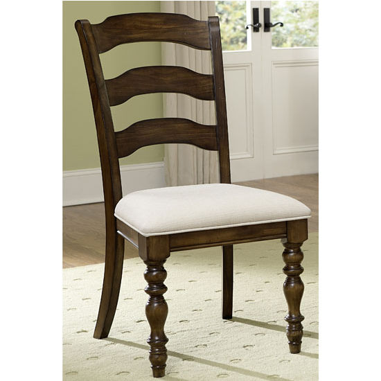 "Hillsdale Furniture Pine Island Ladder Back Side Chair, Set of 2, Dark Pine & Ivory Finish, 20-5/8"" W x 23-1/2"" D x 40-1/4"" H"