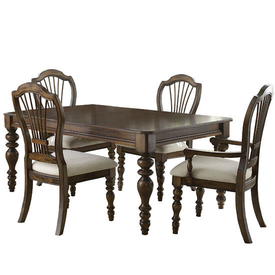 Hillsdale Furniture Pine Island 5-Piece Dining Set, with Wheat Back Side Chairs, Dark Pine Finish