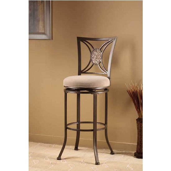 Hillsdale Furniture Rowan Swivel Counter Stool, Silver Brown Finish, Light Brown Seat
