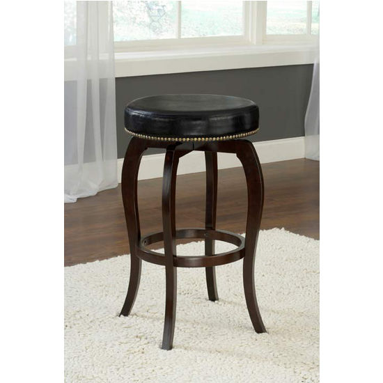 Hillsdale Furniture Wilmington Backless Swivel Counter Stool - Black Vinyl, Cappuccino Finish, Black Vinyl Seat