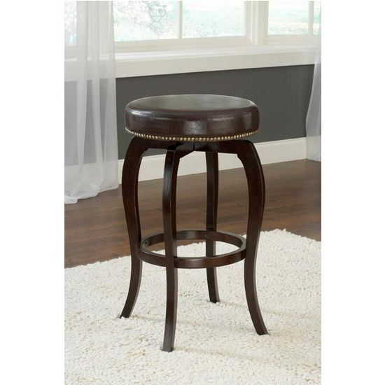 Hillsdale Furniture Wilmington Backless Swivel Counter Stool - Brown Vinyl, Cappuccino Finish, Brown Vinyl Seat