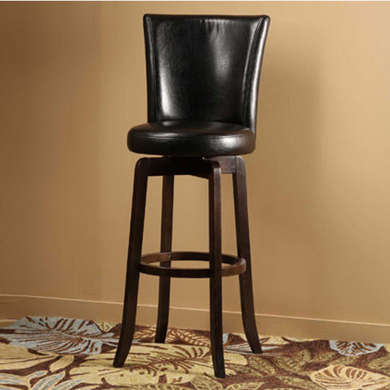 Hillsdale Furniture Copenhagen Swivel Counter Stool - Black Vinyl, Espresso Finish, Black Vinyl Seat