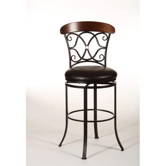 Hillsdale Furniture Dundee Swivel Counter Stool, Dark Coffee Finish, Brown Vinyl Seat