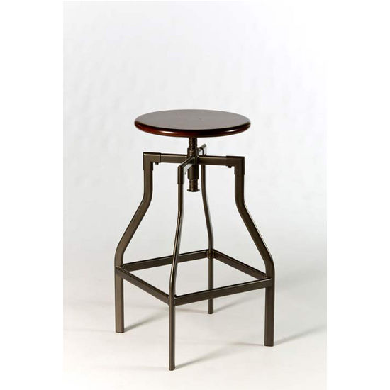 Hillsdale Furniture Cyprus Adjustable Backless Stool, Pewter/Distressed Cherry Finish