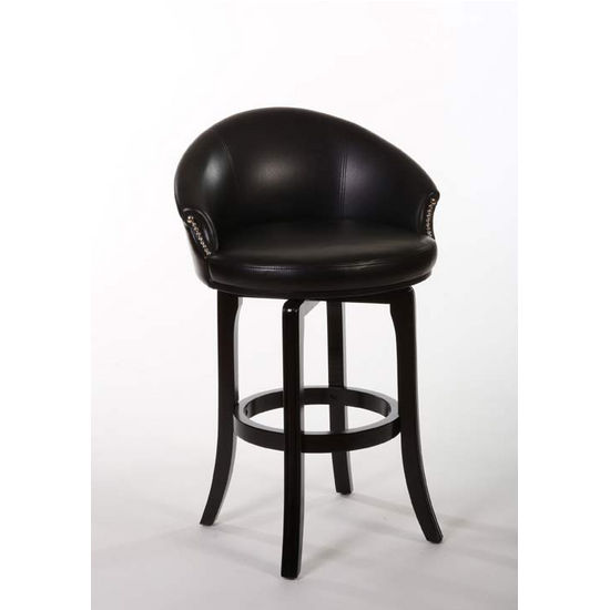 Hillsdale Furniture Dartford Swivel Counter Stool, Dark Brown Cherry Finish, Black Vinyl Seat