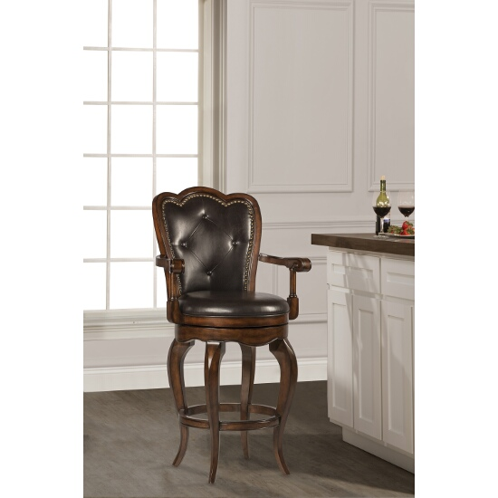 Hillsdale Furniture Eastwind Swivel Bar Stool, Dark Cherry Finish, Dark Brown Vinyl Seat