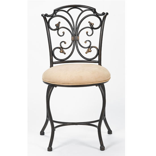 Hillsdale Furniture Sparta Vanity Stool in Medium Brown Cherry (Includes Rails), 16-1/2''W x 17-1/2''D x 32-1/4''H