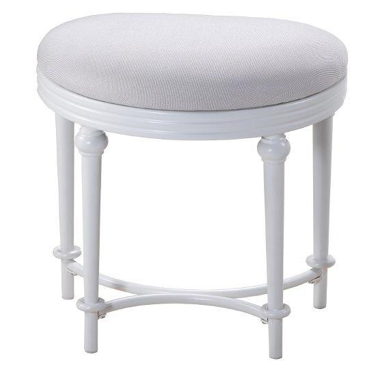 """Hillsdale Furniture Hampton Vanity Stool, Matte White, 18-1/2""""W x 13""""D x 18""""H"""