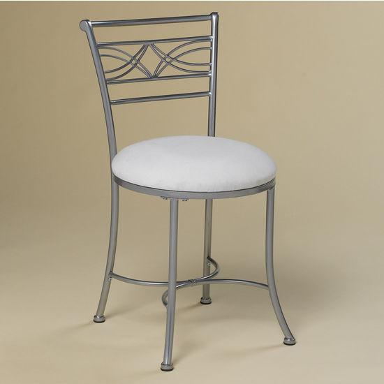 "Hillsdale Furniture Dutton Vanity Stool, Chrome Look Powdercoat, 19""W x 17""D x 31""H"