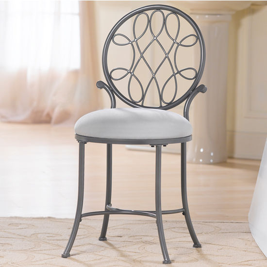 O Malley Collection Vanity Stool 16 Wide In Metallic