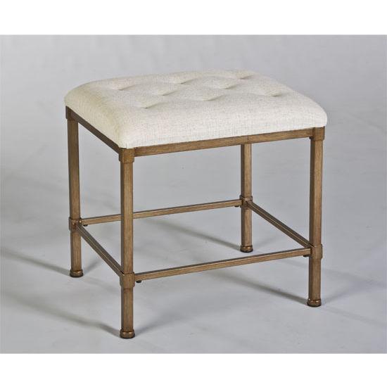 Hillsdale Katherine Backless Vanity Stool in Golden Bronze / Cream Fabric, 15''W x 18''D x 18''H