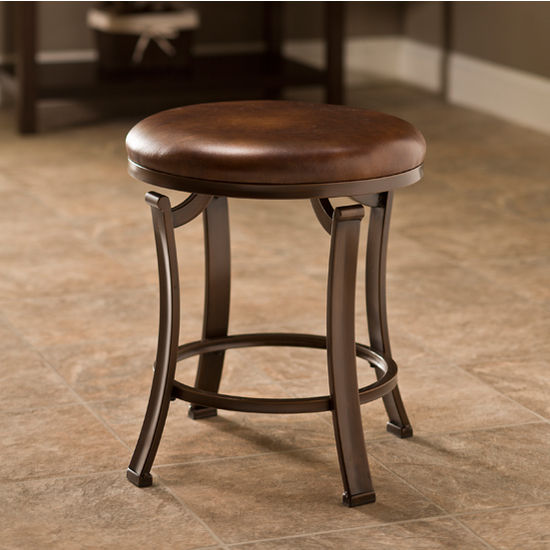 Hillsdale Furniture Hastings Collection Backless Vanity Stool in Antique Bronze, 16'' W x 16'' D x 19'' H