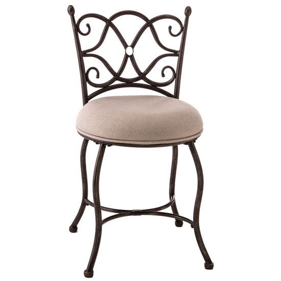 """Hillsdale Furniture Brody Vanity Stool in Gray with Rubbed Black Finish and Dove Gray Fabric, 16-3/4"""" W x 16-3/4"""" D x 31"""" H"""