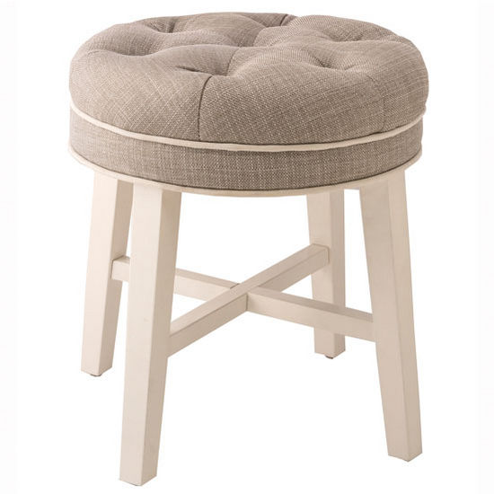 "Hillsdale Furniture Sophia Vanity Stool in White Finish and Linen Gray Fabric, 16"" W x 16"" D x 18"" H"