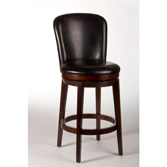 Hillsdale Furniture Victoria Swivel Counter Stool, Dark Brown Cherry Finish, Black Vinyl Seat