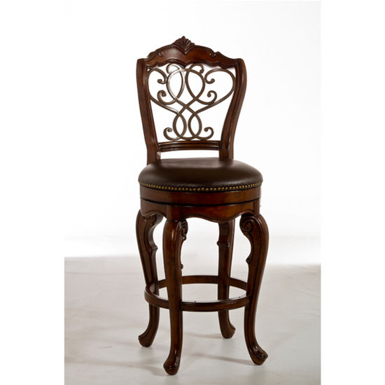Hillsdale Furniture Burrell Collection Swivel Bar or Counter Stool in Brown Cherry/Old Steel, 19'' W x 22'' D x 43'' H