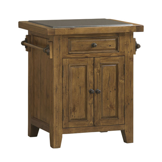 Tuscan Retreat Small Granite Top Kitchen Island, Antique Pine