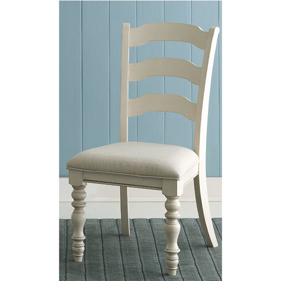 "Hillsdale Furniture Pine Island Ladder Back Side Chair, Set of 2, Old White & Ivory Finish, 20-5/8"" W x 23-1/2"" D x 40-1/4"" H"