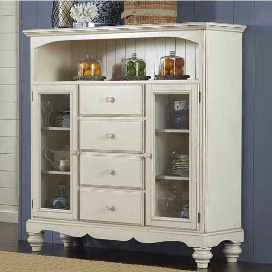 "Hillsdale Furniture Pine Island Four Drawer Baker's Cabinet, Old White Finish, 63-1/2"" W x 18"" D x 67-1/2"" H"