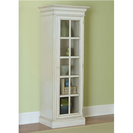 """Hillsdale Furniture Pine Island Small Library Cabinet, Old White Finish, 27-7/8"""" W x 18-1/4"""" D x 75-3/8"""" H"""