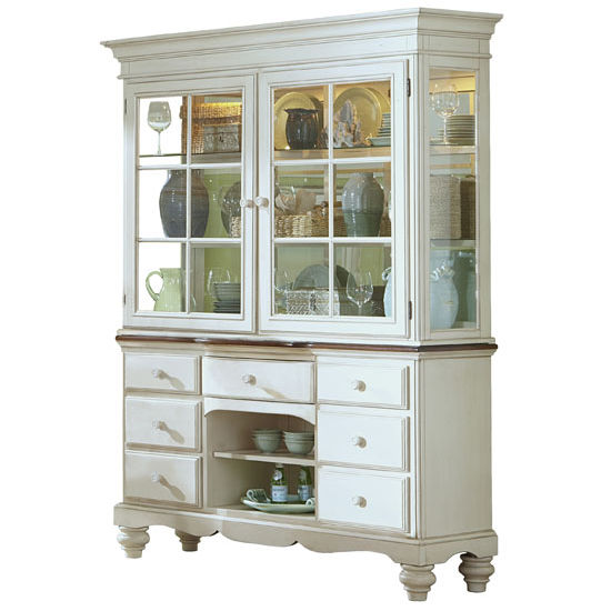 Hillsdale Pine Island Buffet and Hutch in Old White with Dark Top, 63-1/2''W x 19-1/2''D x 83''H