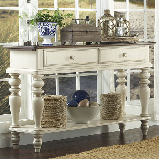 "Hillsdale Furniture Pine Island Sideboard, Old White Finish, 60"" W x 18"" D x 35"" H"
