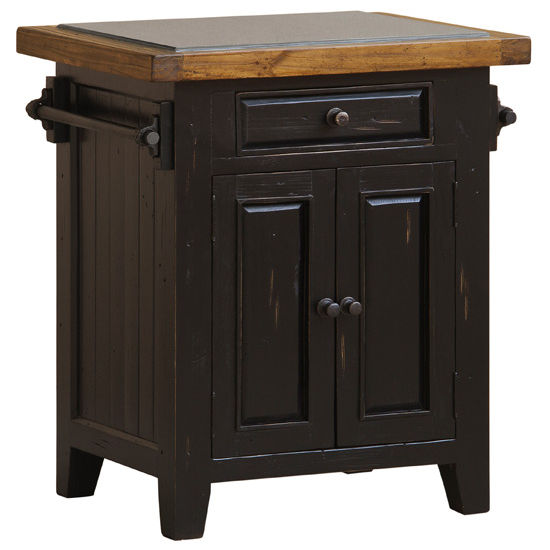 Tuscan Retreat Small Granite Top Kitchen Island, Black/Oxford