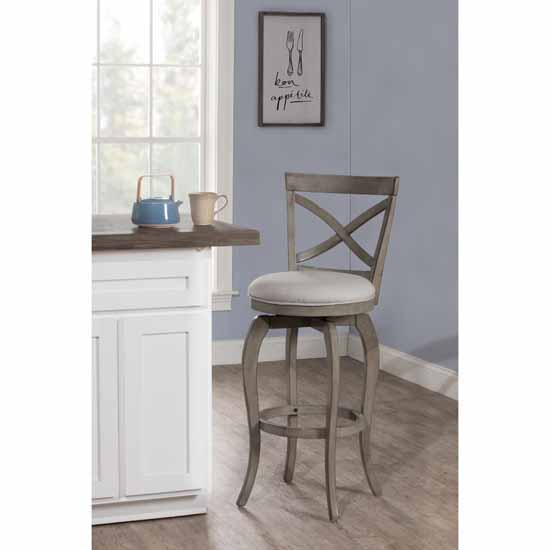 """Hillsdale Furniture Ellendale Swivel Counter Height Stool, Aged Gray, 17-1/2""""W x 21""""D x 38-7/8""""H"""