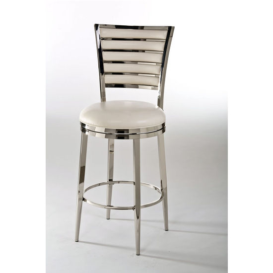 Rouen Swivel Counter Stool, Shiny Nickel