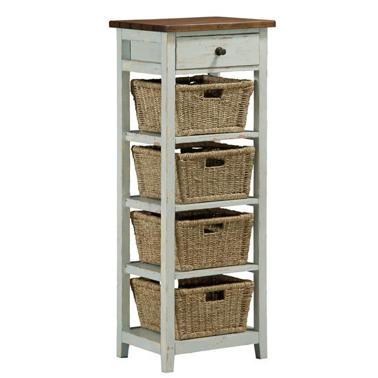 "Hillsdale Furniture Tuscan Retreat 4 Basket, 1 Drawer Open Side Stand, Sea Blue with Antique Pine Top Finish, 16"" W x 20"" D x 53"" H"