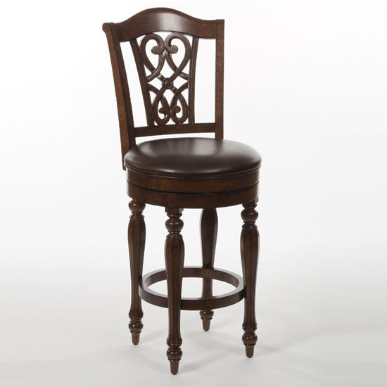 "Hillsdale Furniture Hamilton Park Swivel Counter Stool with Scroll Back, Brown Finish, 22-3/8"" W x 19-1/2"" D x 45-1/2"" H"