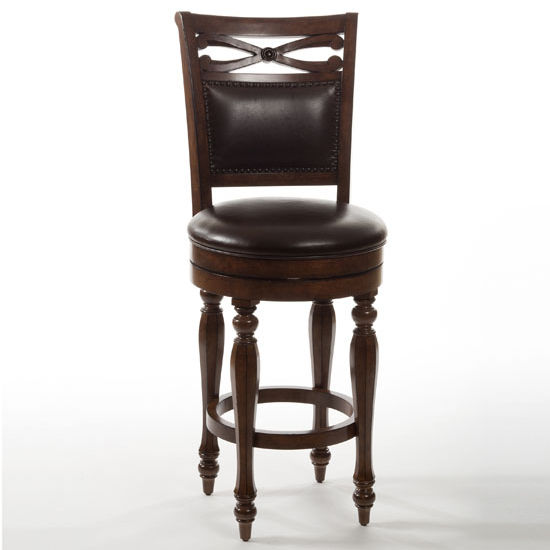 "Hillsdale Furniture Hamilton Park Swivel Counter Stool with Upholstered Back, Brown Finish, 23-3/8"" W x 19-1/2"" D x 44-1/2"" H"