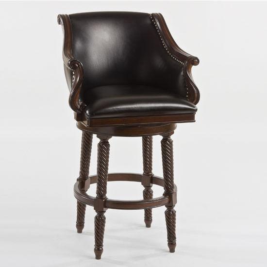 "Hillsdale Furniture Hepburn Swivel Counter Stool, Brown Finish, 26"" W x 24"" D x 41"" H"