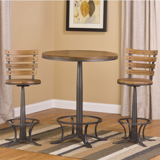 "Hillsdale Furniture Westview Bar Height Bistro Set with Westview Stools, Steel Gray/ Oak/ Black Finish, 36"" W x 36"" D x 43-3/4"" H"