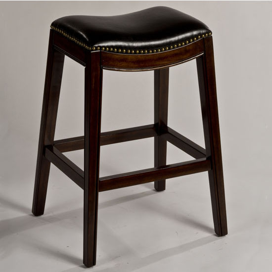 "Hillsdale Furniture Sorella Non-Swivel Backless Counter Stool, Espresso & Black Finish, 20-1/2"" W x 16"" D x 25-3/4"" H"