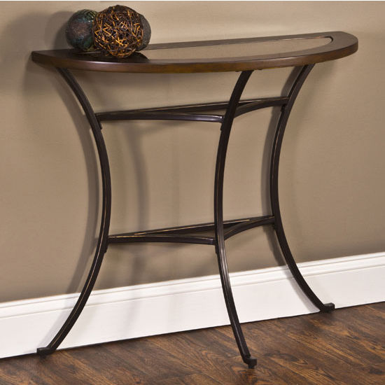 "Hillsdale Furniture Montclair Console Table, Wood Border with Mirrored Glass Top/ Metal - Copper Gold Finish, 36"" W x 14"" D x 29-3/4"" H"