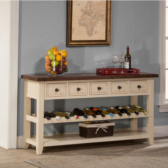 Hilale Furniture Tuscan Retreat Collection Wine Rack Hall Table With Five Drawers In Country White