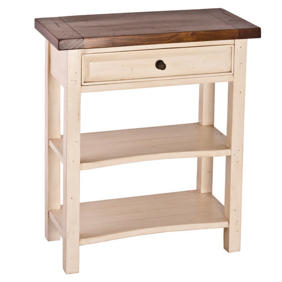 Hillsdale Furniture Tuscan Retreat� Collection Single Drawer Console Table in Country White with Antique Pine Top, 29-1/2'' W x 14-1/2'' D x 34'' H