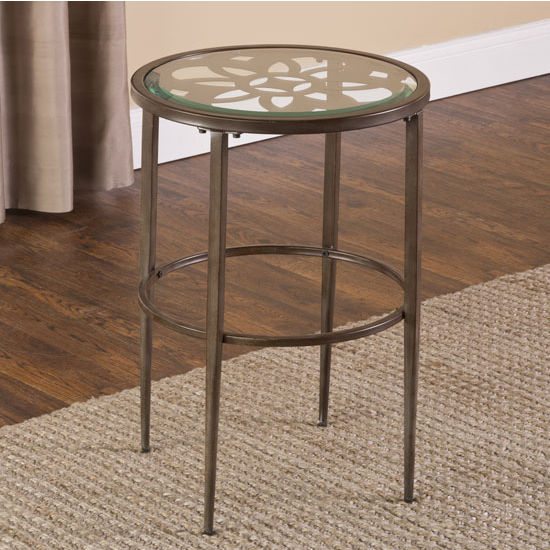 "Hillsdale Furniture Marsala End Table, Gray with Brown Rub Finish, 17-1/4"" W x 17-1/4"" D x 24"" H"