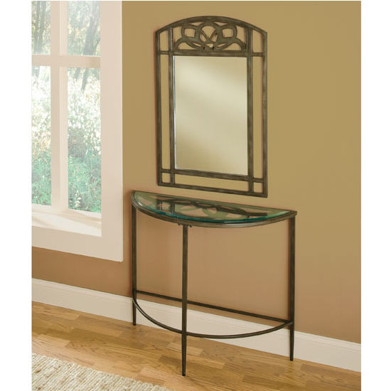 "Hillsdale Furniture Marsala Console Table and Mirror, Gray with Brown Rub/ Glass Finish, 36"" W x 14"" D x 36"" H"