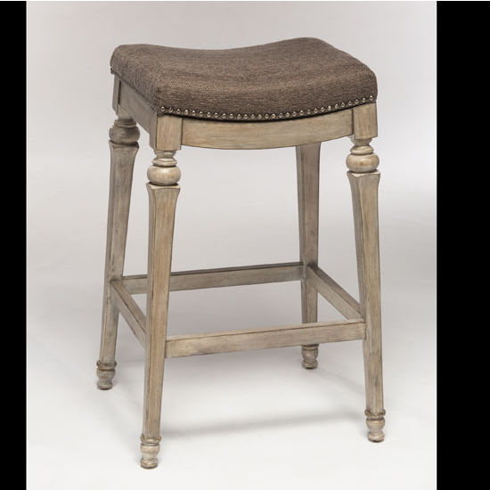 Hillsdale Vetrina Backless Non-Swivel Counter Stool in Weathered Gray / Gray Fabric, 21-1/2''W x 15-1/2''D x 27''H