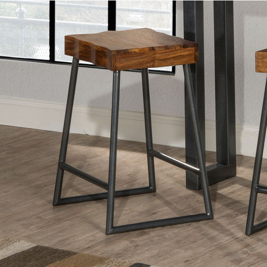 "Hillsdale Furniture Emerson Collection Manufactured Live Edge Square Non-Swivel Backless Counter Stool in Natural Sheesham Wood / Gray Metallic, 17"" W x 14"" D x 26"" H"
