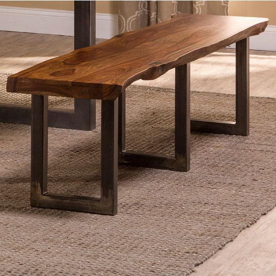 "Hillsdale Furniture Emerson Bench in Natural Sheesham / Gray Powder Coat, 70"" W x 15"" D x 18"" H"