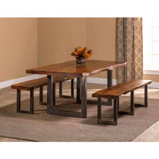 """Hillsdale Furniture Emerson 3-Piece Rectangle Dining Set with (2) Benches in Natural Sheesham / Gray Powder Coat Finish and Gray Fabric, 80"""" W x 39"""" D x 30"""" H"""