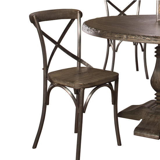 Hillsdale Lorient X Back Dining Chair - Set of 2 in Washed Charcoal Gray / Aged Steel Metal Finish Finish