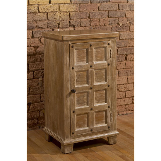 Millstone 3 Tier Cabinet with Nailhead in Antique Beige by Hillsdale