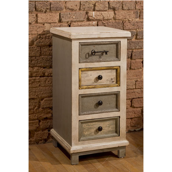 Larose Four 4 Drawer Cabinet In Dove Gray Antique