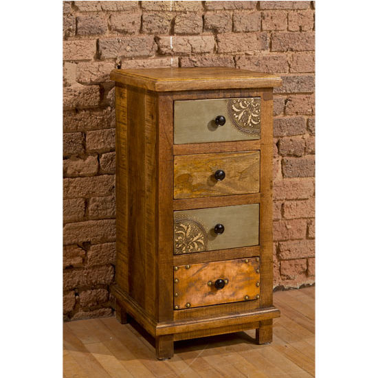 Four (4) Drawer Cabinet in Deep Pine with Hand Painted and Copper