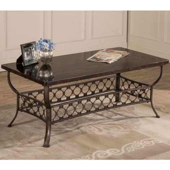 "Hillsdale Furniture Brescello Rectangle Coffee Table in Charcoal / Blue Stone, 24"" W x 24"" D x 22"" H"